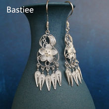 Bastiee 999 Sterling Silver Tassel Earrings For Women Gourd Feng Shui Earings Luxury Jewelry Miao Handmade Wicca Ethnic Vintage(China)