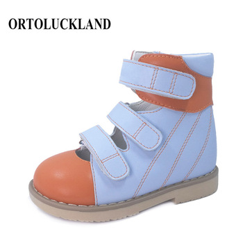 Ortoluckland Kids Leather Shoes Baby Orthopedic Sandals For Children Closed Toe Blue Brown Flatfoot Footwear EU Size 23 to 33