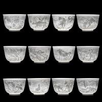 Chinese Style 12 Auspicious Zodiac Ceramic Carvings 3D Teacup Kung Fu Tea Pu'er Porcelain Tea Cup Set Tea Ceremony Gifts 100ml