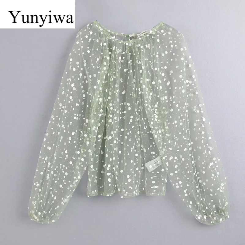 Women Sequins Decoration Sexy Transparent Casual Mesh Blouse Shirts Women Smock Blusas Chic Lantern Sleeve Femininas Tops