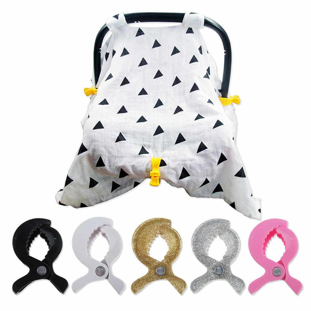 Bebê colorido assento de carro acessórios plástico pushchair brinquedo clipe carrinho de criança peg para gancho capa cobertor mosquito net clipe