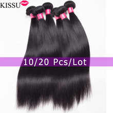 Kwholesale atacado 28 30 32 polegada pacotes de cabelo em linha reta feixes de cabelo humano em massa pacotes de cabelo brasileiro não-remy extensão