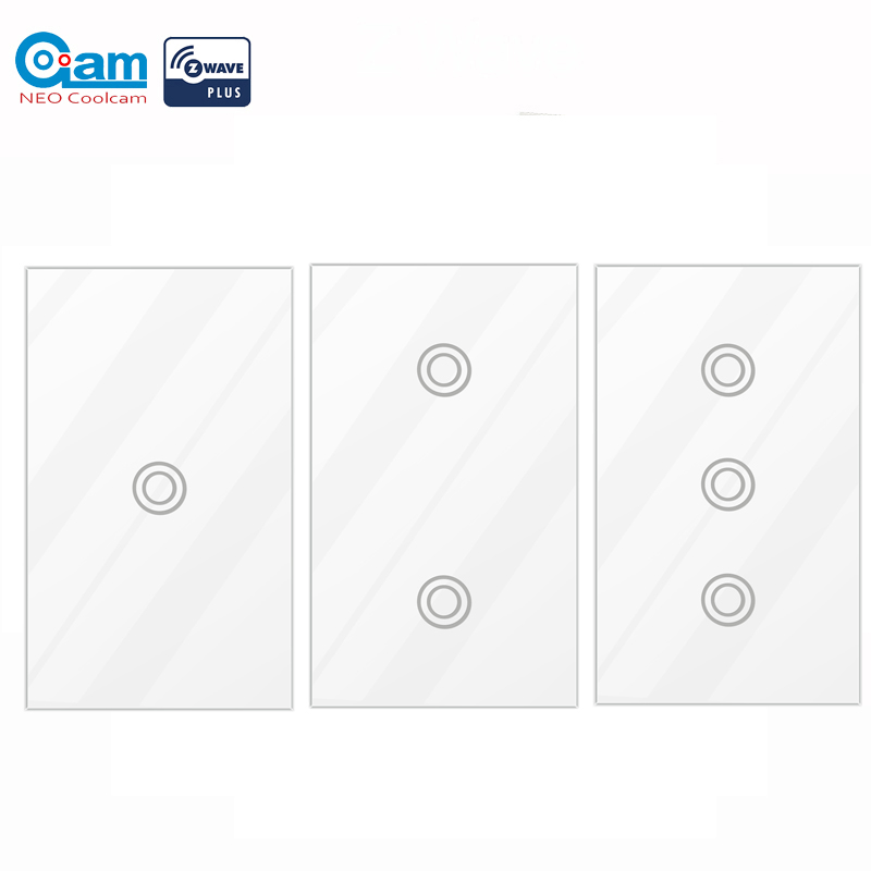NEO COOLCAM NAS-SC01Z Z-wave Wall Light Switch 2 Gang US Type US 908.4MHz 916MHZ Z Wave Wireless Smart Remote Control