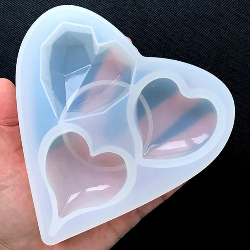 Faceted Heart Puffy Heart Silicone Mold Assortment (3 Cavity) Resin Epoxy Mold Jewelry Accessories Handcraft Molds Jewelry Tools
