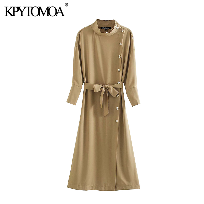 KPYTOMOA Women 2020 Chic Fashion With Belt Buttons Midi Dress Vintage Three Quarter Sleeves Office Wear Female Dresses Vestidos
