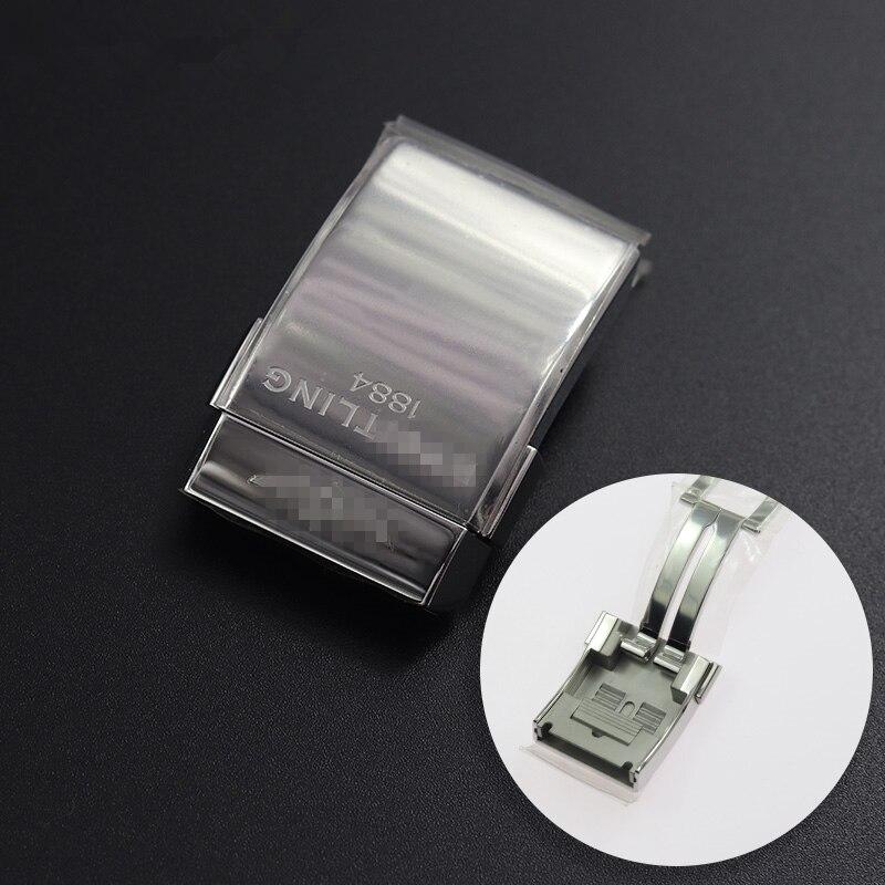 Boucle en acier inoxydable pour Breitling classique fermoir 1884 20mm hommes caoutchouc Silicone bracelet argent noir métallique boucle remplacement