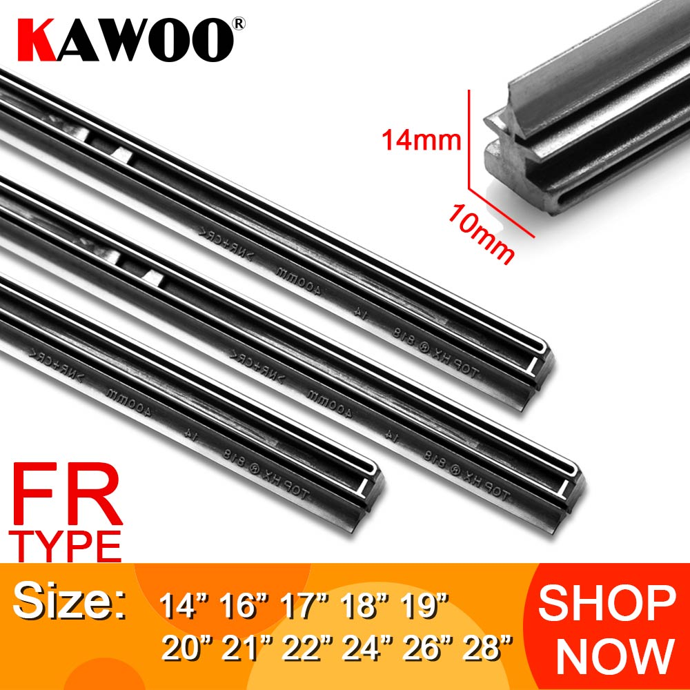KAWOO Auto Windscreen Car Wiper blade Strips Vehicle Insert Rubber Strip 14''16''17''18''19''20''21''22''24''26'' FR 10mm 1pcs Accessories