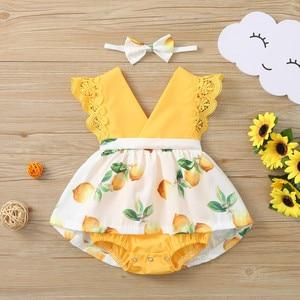 Для детей ясельного возраста детская одежда для девочек кружевное платье принцессы с принтом с лимонами; Джемпер с треугольным воротом без рукавов для девочек Комбинезон с бантом и повязка на голову, комплект детской одежды, Vestido|Платья|   | АлиЭкспресс
