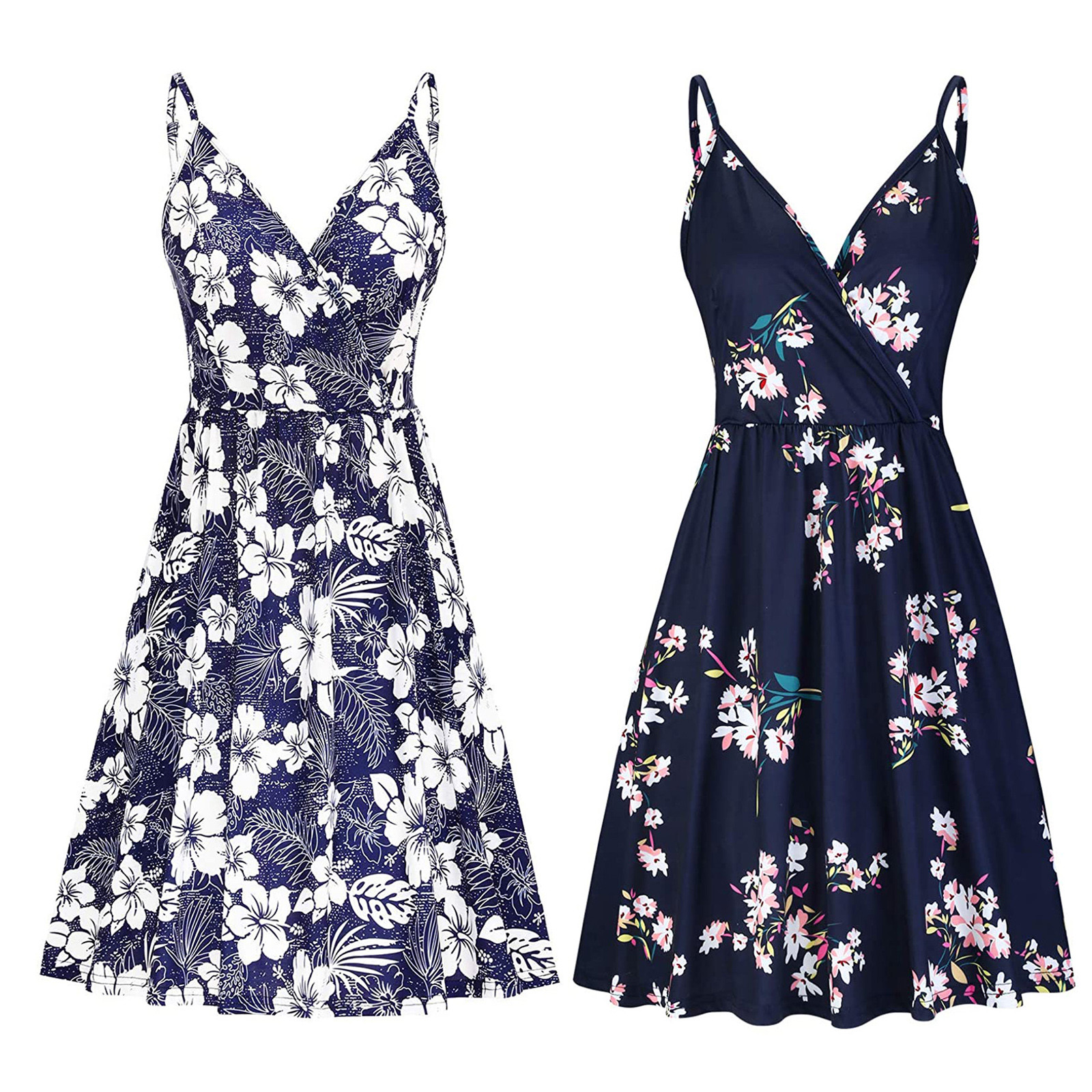 Women's V Neck Floral Spaghetti Strap Summer Casual Swing Dress with Pocket 5