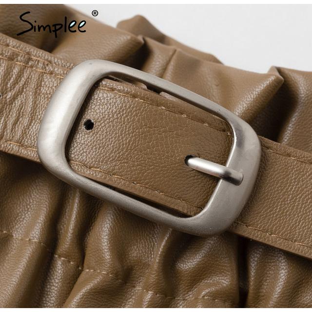 Vintage elastic high waist loose pu leather shorts