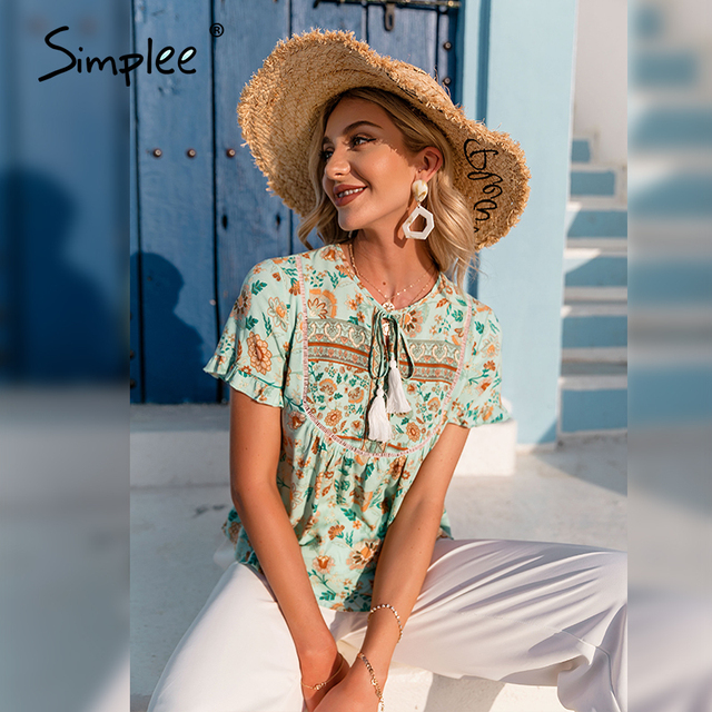 Simplee Ethnic holiday floral print loose women blouse summer Casual bow sash tassel shirts female Ruffled o-neck short top lady 6