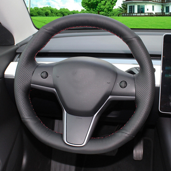 Car hand sewing leather steering wheel cover  for Tesla Model 3 handle cover