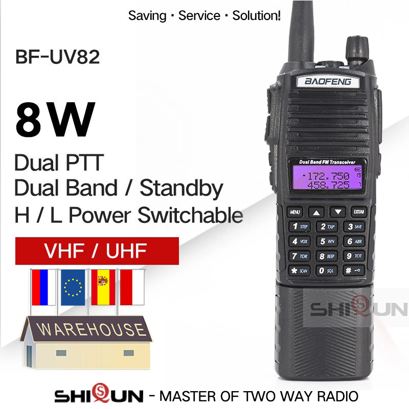 Enlarge 3800mAh UV-82 8W Baofeng UV 82 Walkie Talkie 10 KM Baofeng 8W Radio Dual PTT UV-XR UV-9R GT-3TP Ham Radio 10 KM UV-5R 8W