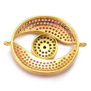 Neovivi пустотелые круглые бусины очарование глаз фиолетовый CZ синий черный циркон Подвески для изготовления ювелирных изделий женские DIY браслеты ожерелья ручной работы