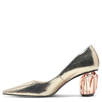 YECHNE Women High Heels Women's Shoes Bridal Shoes Gold Silver Cartridge Plus Size Crystal Pumps Fashion Be Teen Pumps