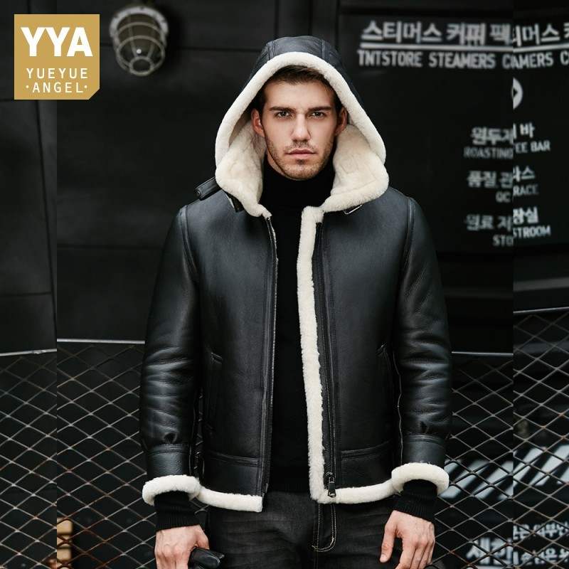 Sheep Shearling Mens Hooded Short Plus Size Coats Top Quality Genuine Leather Real Fur Winter Thick Warm Mens Flying Jackets