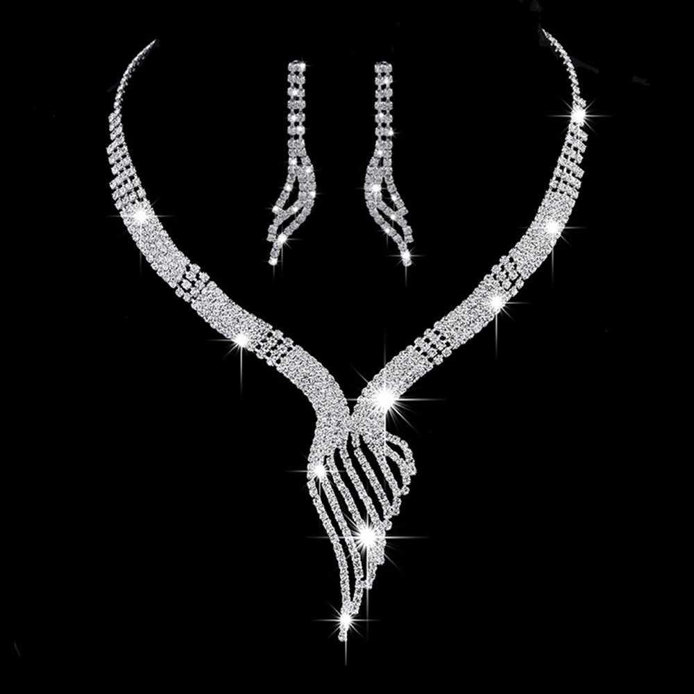 งานแต่งงานเจ้าสาวชุดเครื่องประดับหมั้นพรรควันครบรอบชุดเครื่องประดับคริสตัลหรูหราคริสตัลมงกุฎสร้อยคอต่างหู biżuteria