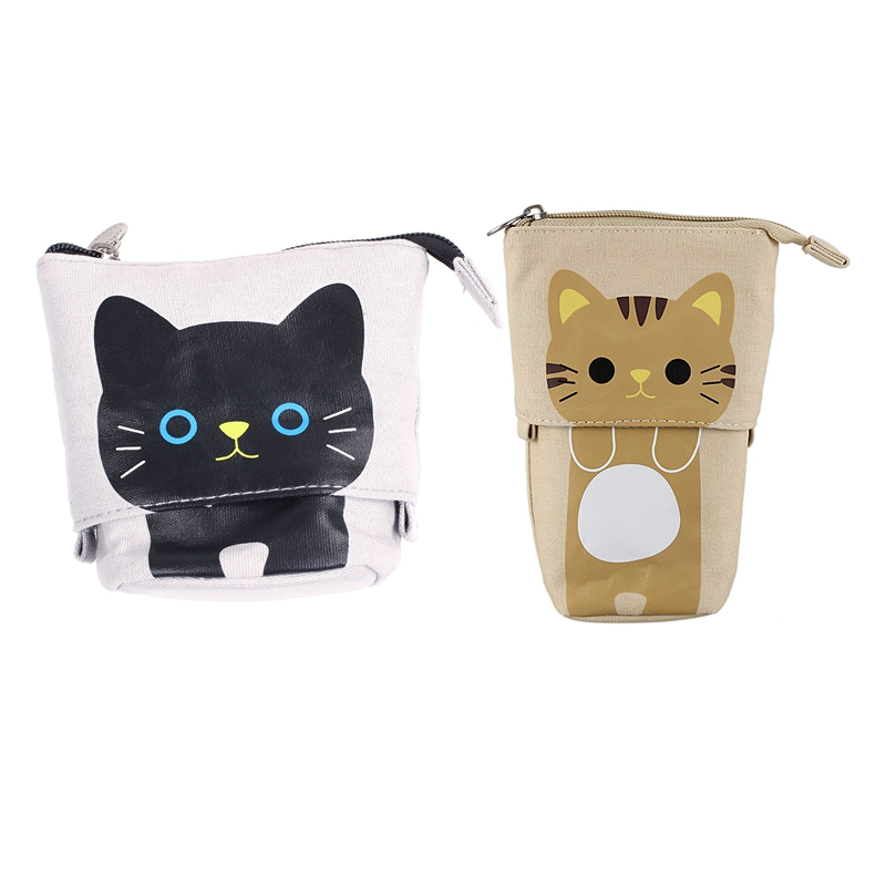 2 Pcs Canvas Cartoon Cute Cat Telescopic Pencil Pouch Bag Stationery Pen Case Box With Zipper Closure -Gray & Khaki