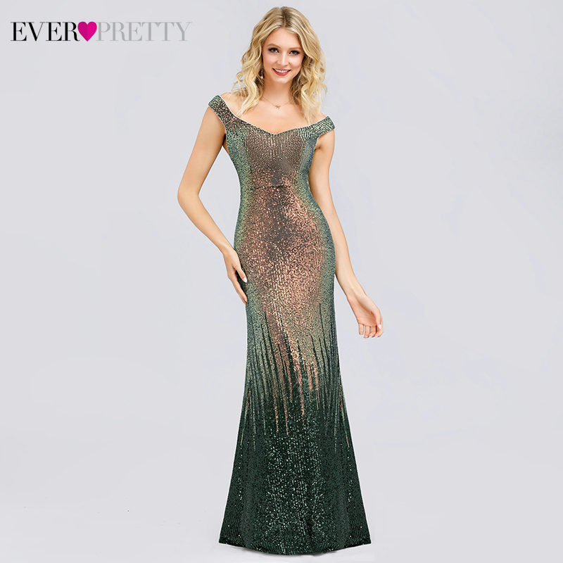 Luxury Saudi Arabia Evening Dresses Ever Pretty EP00829 Mermaid Sequined Off The Shoulder Sparkle Formal Gowns Abendkleider 2019