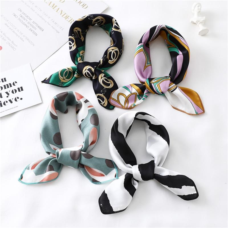 2020 New Women Silk Scarf Square Foulard Lady's Neck Hair Scarves Design Printed Head Kerchief Fashion Girl Hair Scarfs