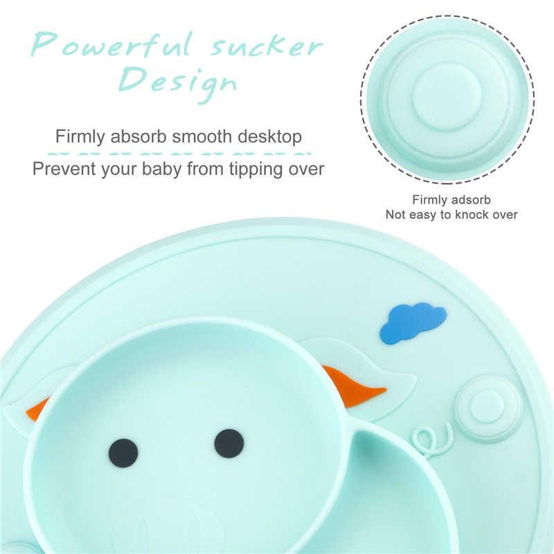 Qshare bebê placemat bonito porco placa de sucção silicone crianças placa alimentação comida para bebê tigela pratos do bebê pratos