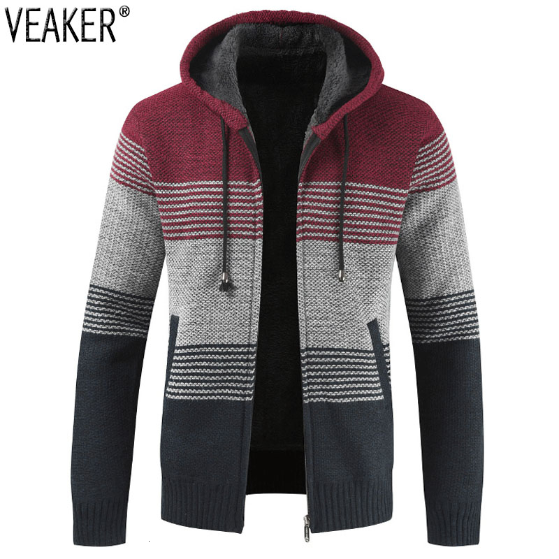 2019 New Men's Casual Hooded Sweatercoat Male Winter Thick Sweater Jackets Coat Striped Knitted Sweater Outerwear M-3XL