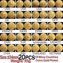 20 шт 24 мм позолоченные монеты многие страны копируют коллекционные монеты