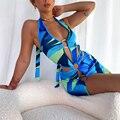 Wsevypo Frauen Halfter Kurz Bodycon Kleid Sexy Sommer Party Club Aushöhlen Ring Sleeveless Wrapped Mini Sommerkleid Ausschnitt Kleidung