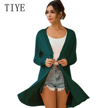 TIYE New Arrival Pocket Cardigan Long Sleeve Knitted Sweater Women Open Stitch Casual Knitting Sweters Femme Mujer