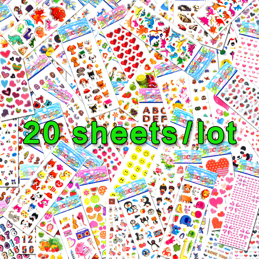 20Sheets/Lots Wholesale Various Scrapbooking Bubble Puffy Stickers Different Labels Reward Kids Toys For Children Factory Sales