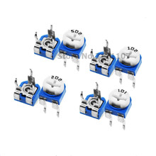 50PCS RM063 RM-065 100 200 500 1K 2K 5K 10K 20K 50K 100K 200K 500K 1M ohm Trimpot Trimmer Potentiometer variable resistor WH06-1