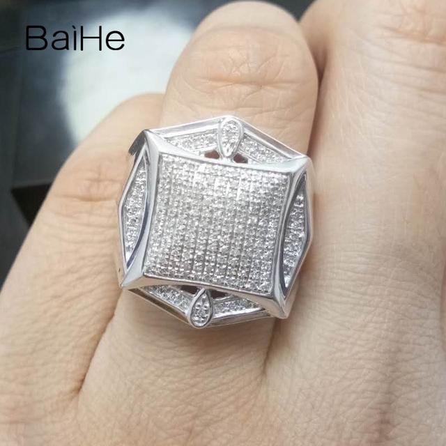 BAIHE Sterling Silver 925 0.6CT Certified H/I Round Cut Genuine Natural Diamonds Wedding Men Trendy Fine Jewelry Ring