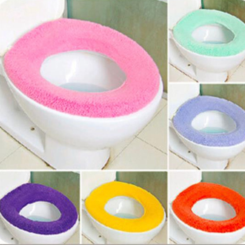1pc Random Color Toilet Seat Case Warmer Toilet Accessories Pedestal Pan Cushion Pads Washable Toilet Seat Covers