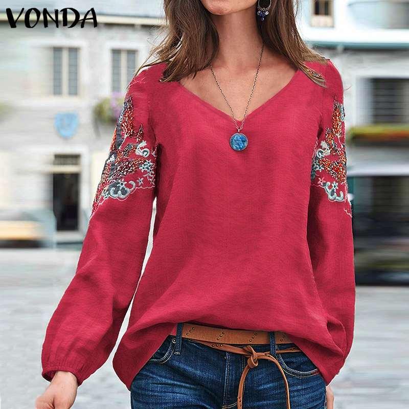 Tunic Women Blouse Vintage Printed Shirts Embroidered Blouse VONDA 2020 Autumn Casual Loose Female Tops Plus Size Bohemian Blusa