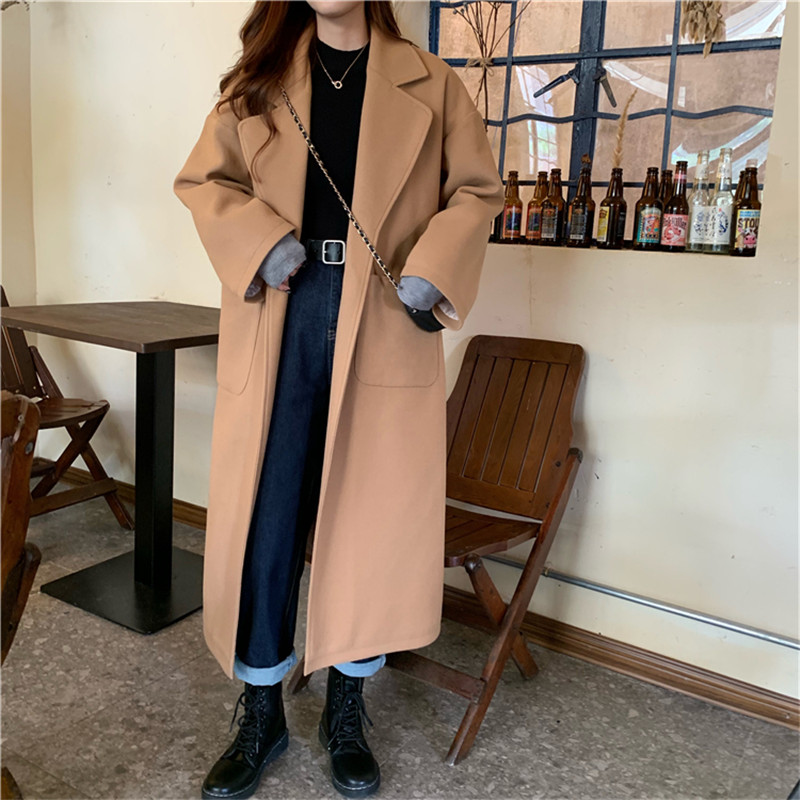 New Vintage Winter Women Woolen Coat Solid Warm Long Sleeve Split Loose Outwear Jackets Female Black Belt Coats Overcoat