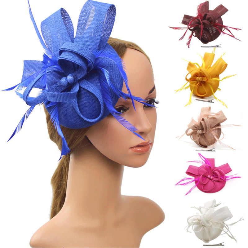最新のファッション女性の花のヘアクリップ羽スモールミニトップハット結婚式の魅惑的なロイヤルアスコットレースアクセサリー