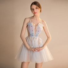 New Short Prom Dresses 2019 Elegant Sexy See Through Dress Light Blue Puffy Evening Party For Teens Gala