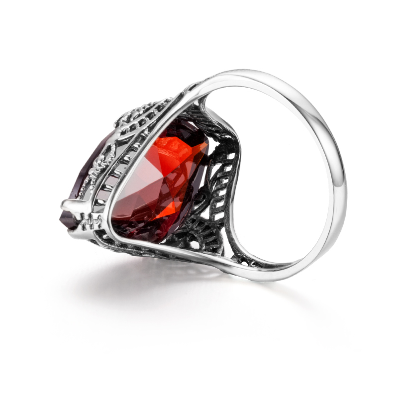 Real 925 Sterling Silver Classic Ring Gemstones Oval Garnet Rings Stone Wedding Fine Jewelry For Women 2020 Luxury Brands Gifts