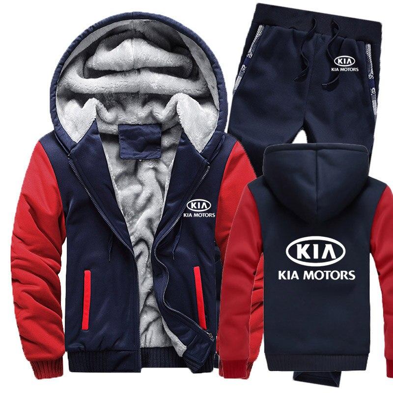 Winter Hoodies Men KIA Car Logo Mens Hoodies Suit Thicken Warm Fleece Cotton Zipper Tracksuit Mens Jacket+Pants 2Pcs Sets