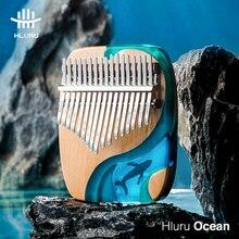 Hluru kalimba 17 21 chave de madeira polegar piano gecko instrumento musical presente com acessórios de madeira maciça oceano baleia golfinho kalimba