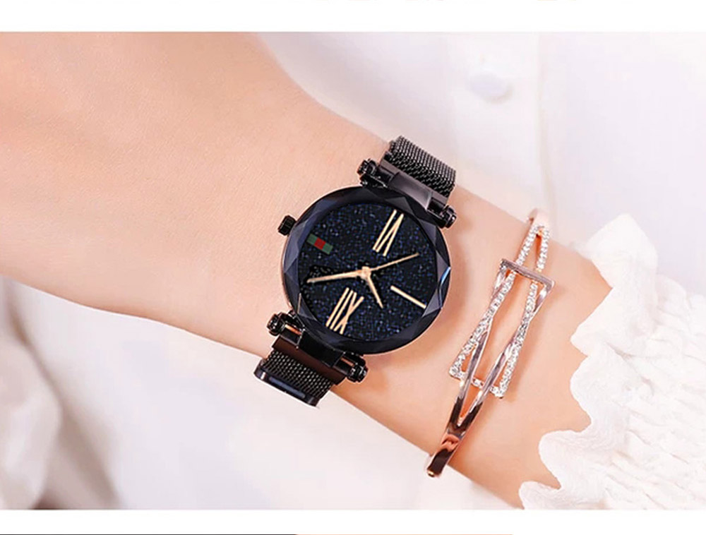 Luxury Minimalism Starry sky Magnet Rose Gold Women Watches 16