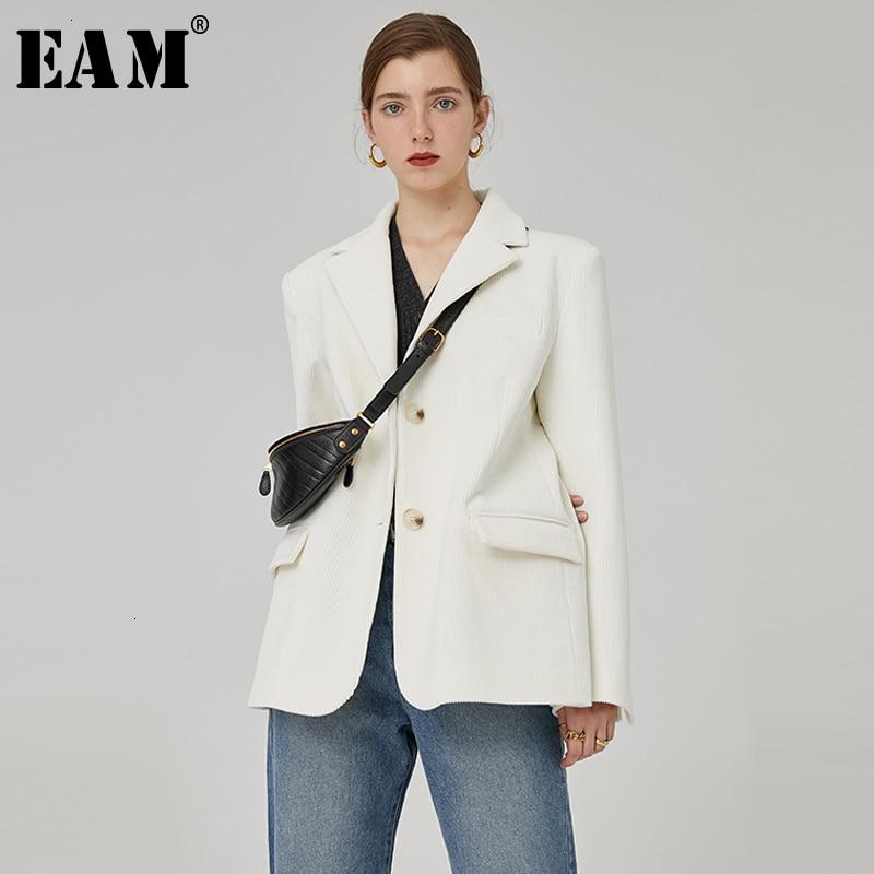 [EAM]  Women Button Split Corduroy Blazer New Lapel Long Sleeve Loose Fit  Jacket Fashion Tide Spring Autumn 2019 1H5050