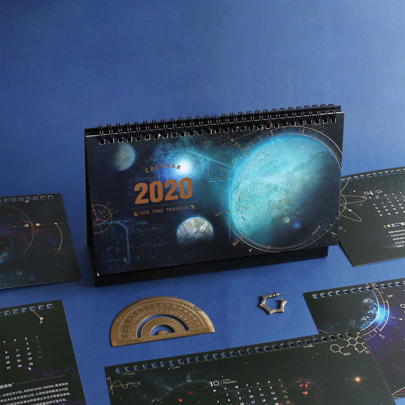 2020 Starry Sky Time Traveler Desk Calendars Daily Schedule Planner Creative DIY Coil Calendar 2019.10-2020.12
