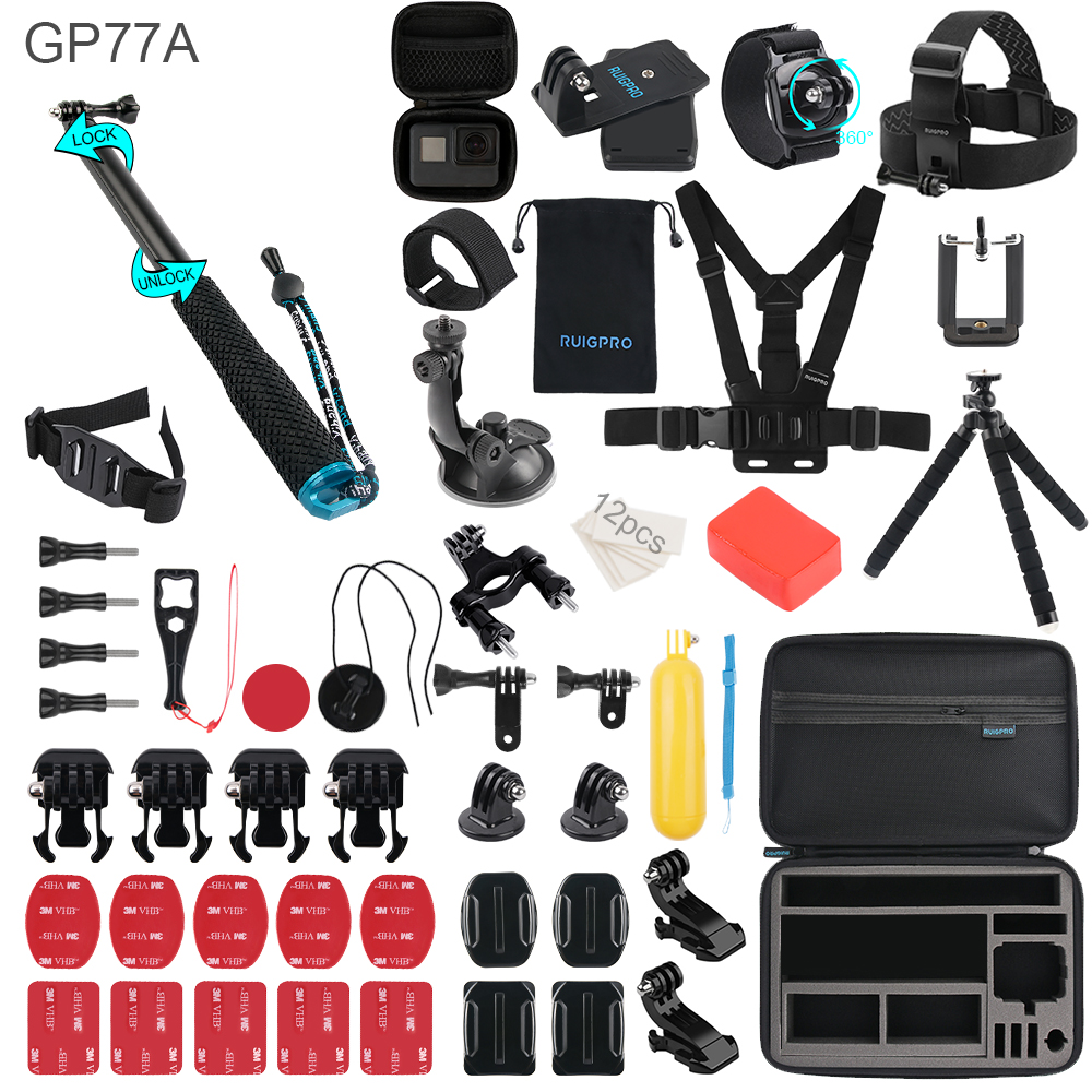 RuigPro For Gopro Accessories Set For go pro hero 8 7 6 5 4 3 kit 3 way selfie stick For Eken h8r / For xiaomi For yi EVA case