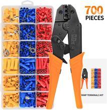 Pince à sertir pour outils de sertissage, 700 pièces, 22-10 AWG 0.5-6, 0 mm2 de terminaux automobiles isolés, connecteurs, HS-30 fils