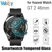 VSKEY 100pcs Tempered Glass for Huawei Watch GT 2 46mm Screen Protector Round Sport Smartwatch D38.5mm Protective Film