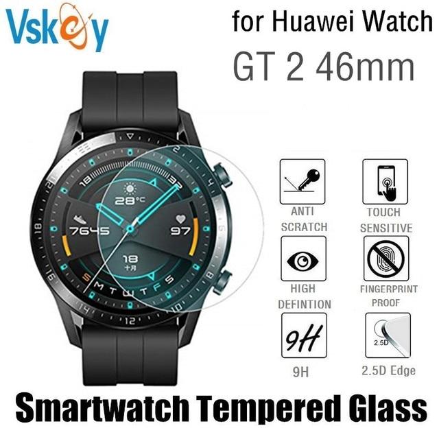 Vskey 100個強化ガラスhuawei社腕時計gt 2 46ミリメートルスクリーンプロテクターラウンドスポーツスマートウォッチD38.5mm保護フィルム