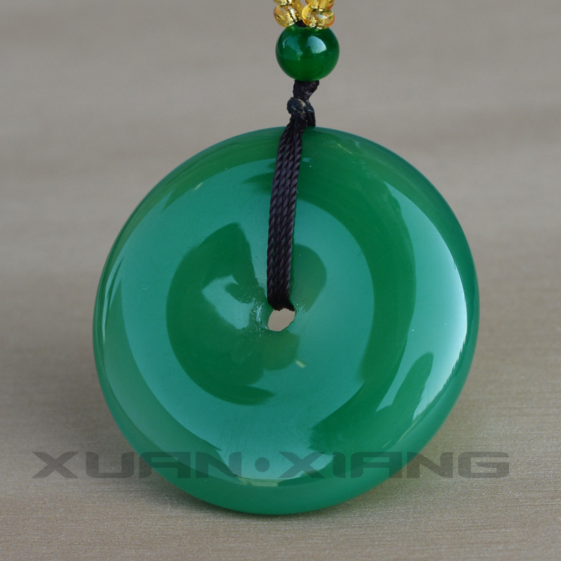Drop Shipping Women Agate Necklace Pendant Green Circle Peace Buckle Donuts Pendant Gift For Female Chalcedony Fine Jewerly