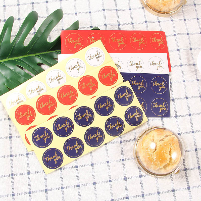 5Sheets=50Pcs Sealing Label Stickers Thank You Adhesive Stickers Handmade Paper Stickers For Gifts Girls Bronzing Stickers