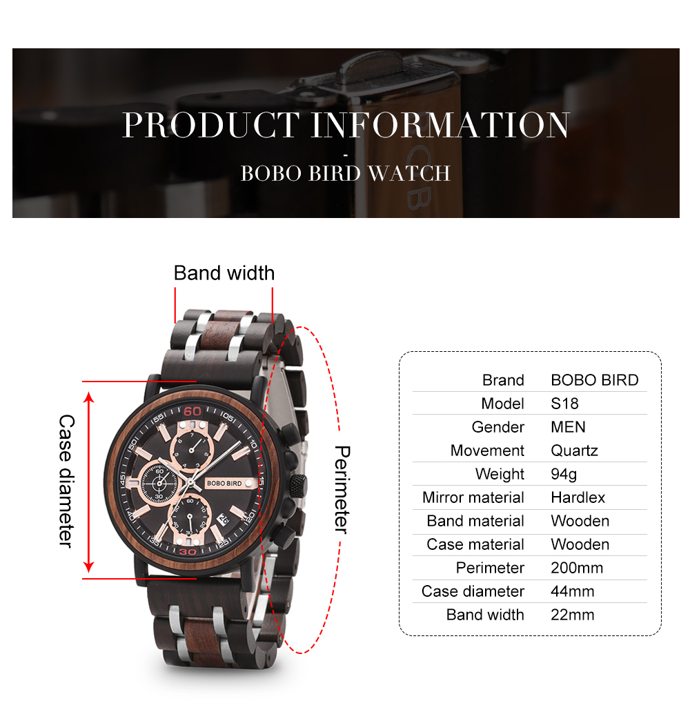 BOBO BIRD Personalized Wooden Watch Men Relogio Masculino Top Brand Luxury Chronograph Military Watches Anniversary Gift for Him H95892e0a0dbc464b85f528edd9333216M